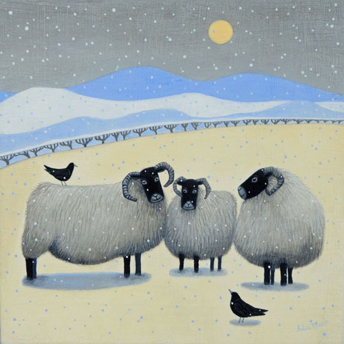 "Sheepie Blethers"""" Black faced sheep in the snow"