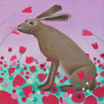 "Hoppity Poppity"""" Hare and Poppies"