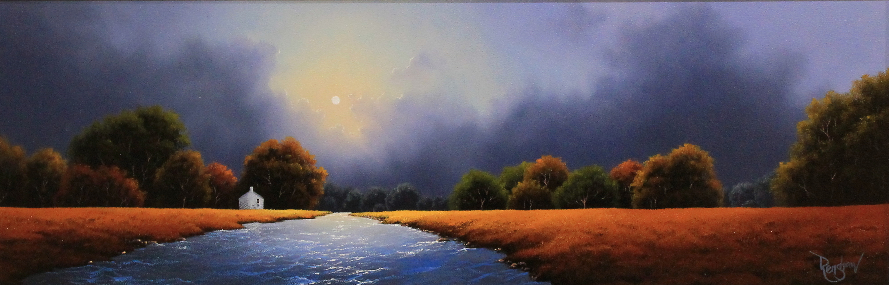 An original oil painting by David Renshaw inspired by the Lake District. A river begins in the foreground and flows off into the distance with an orange toned meadow either side. There is a line of trees and shrubbery, varying in distances and colours, running across the landscape. To the left of the river within the line of trees is a small white house with a chimney and a dark window. The moon sits in the sky above dark clouds inline with and illuminating the river below.