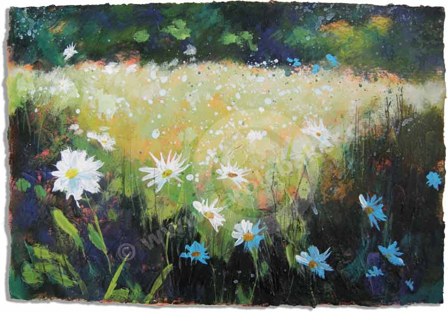 This acrylic painting on waterford paper is delicate and beautiful. Cool colours are used to evoke emotions of calm. The painting makes one feel peaceful and relaxed. Pretty white dasies are dotted around the painting amongst luscious green grass.