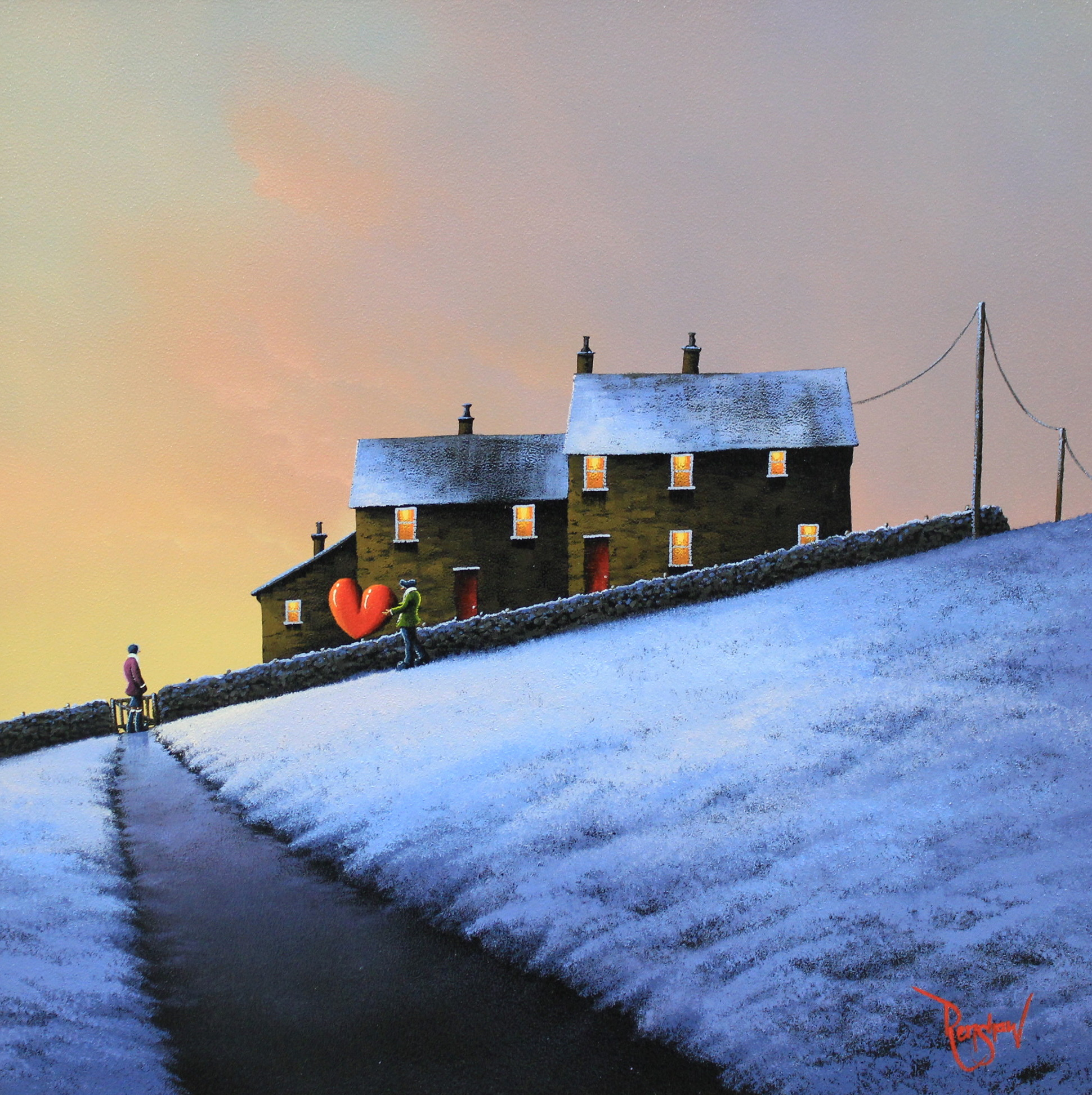 An original oil painting by David Renshaw, a continuation of his Northern Romance series inspired by the Lake District. Standing by a gate at the end of a path is Doris looking up towards Ted who is carrying a red love heart down a snowy hill to meet her. Both are in front of a stone wall, behind which are two houses with red doors and orange/yellow glowing windows. As the hill they stand on descends to the left, on the horizon warmer yellow and pink tones are present in the sky from a distant low sun.