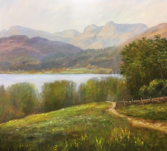 An original oil painting by Lake District artist Jeff Sudders. A footpath leads through a spring meadow to Skelghyll Woods at Ambleside, Cumbria. In the middle distance is Lake Windermere with two sailing boats. The Langdale Pikes are in clear view along with Lingmoor, Allen Crags and Great Gable.