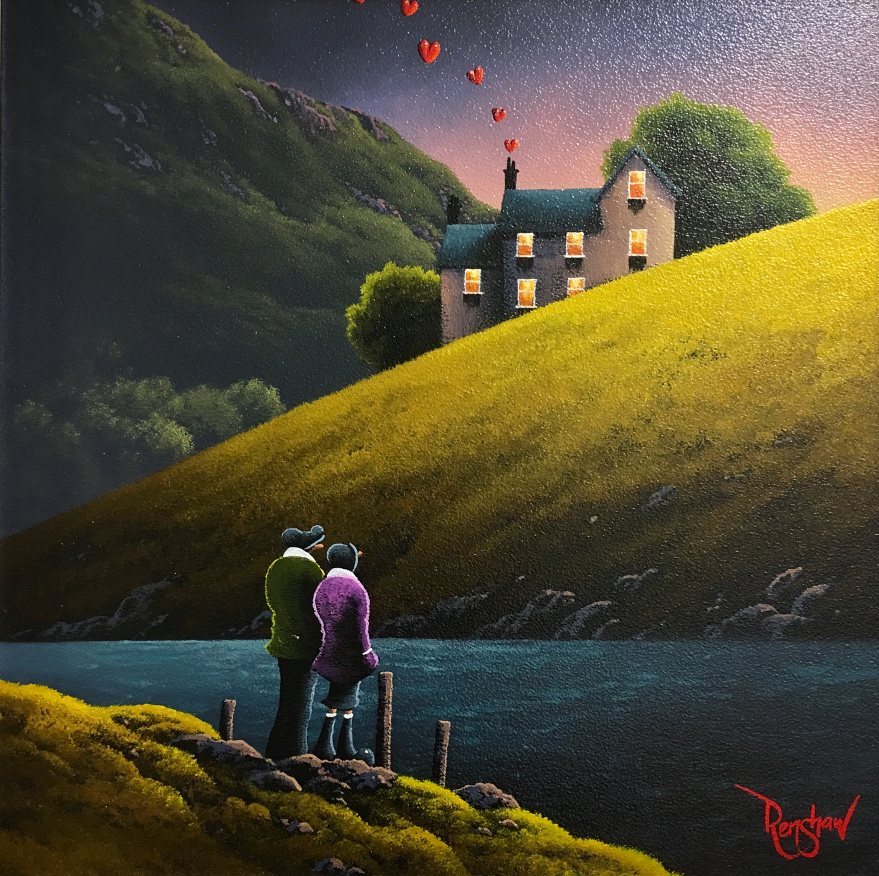 An original oil painting by David Renshaw, a continuation of his Northern Romance series inspired by the Lake District. The couple stand at the waters edge over looking a house on a hill, where coming out of the chimney are the symbolic love hearts floating up into the evening sky. The slopes on which the couple and house stand upon have vibrant green tones which contrast with the darker palette of the mountain in the background.