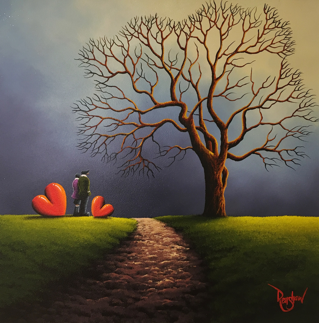 An original oil painting by David Renshaw, a continuation in his Northern Romance series. On the left of a cobbled path Ted and Doris stand, symbolic love hearts either side of them, looking at a grand tree bare of all it's leaves. As the title suggests the tree relates to the love the couple share, growing strong and staying sturdy through the seasons.