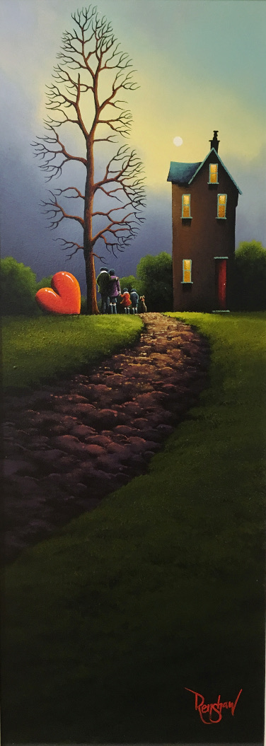 An original oil painting by David Renshaw inspired by the Lake District. In this continuation of Renshaw's Northern Romance series, Ted, Doris and their dog are joined by two children, a boy and a girl. They all stand together at the end of a cobbled path watching the sky, between a house with a red door and orange/yellow glowing windows and a very tall tree with no leaves. To the left of the tree tilted on its side is the symbolic red love heart, which in this image is as tall as Ted.