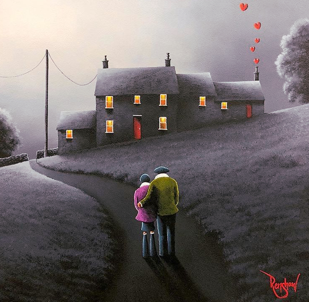 An original oil painting by David Renshaw, a continuation in his Northern Romance series. The couple stand on a path admiring their home on the hill, illuminated by the moon in the night sky. The iconic bright red love hearts are floating up out of the far-right chimney, giving a splash of colour to the grey landscape, along with the couple's clothes, red doors and backlit windows on the house.