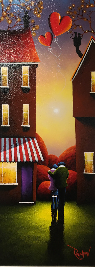 An original oil painting by David Renshaw, a continuation of his Northern Romance series inspired by the Lake District. Ted and Doris stand on a lawn between two houses watching the distant sunset. Floating above them are two red love heart shaped balloons with intertwining strings, which symbolise their enduring love for one another. At the top of the image branches are emerging from behind both the houses, bare of all leaves but with small orange orbs scattered along them, mainly at the tips of the branches. The windows of both houses all glow with orange and yellow tones, the house on the left also has a purple door that matches Doris' coat and a red and white sun awning.