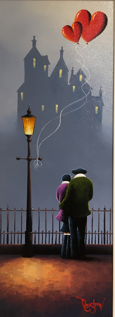 An original oil painting by David Renshaw, a continuation of his Northern Romance series inspired by the Lake District. The couple stand by a railing, Ted with his arm around Doris, next to a traditional style lamppost on which two love heart balloons are tied to. The symbolic balloons float high above the silhouette of a grand building seen in the misty distance. Using a darker shade of greyish blue than the background the structure is clearly visible along with windows in a pale shade of yellow.