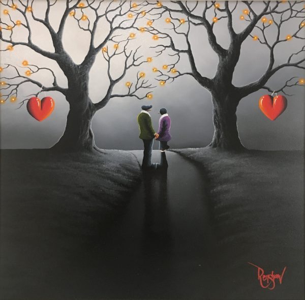 An original oil painting by David Renshaw, a continuation of his Northern Romance Series. The featured couple stand central on a path, turned towards one another between two trees. Both trees stand tall and bare of all their leaves but have small orange orbs at the end of most of the branches. Hung upon both the trees are the iconic red love hearts which, along with the orbs and couple's clothes, gives a splash of colour and contrasts with the grey night scene.