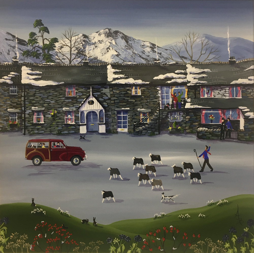 An original acrylic impression of Elterwater in the Lake District, by Anne Blundell. This street scene includes a row of partially snow topped stone terraced houses with smoke coming out of all the chimneys. In the windows of the houses are various plant pots, flowers in vases, a tabby cat, an old woman looking dusting, a man, and a young woman cleaning the glass. On the balcony of one of the houses sits a couple and their dog enjoying a cup of tea and waving at the farmer herding sheep with his dog on the street below. In front of the last house on the right stands a man on one side of the gate talking to a police officer on the other side on the street. Also on the street is a small black cat and a red Morris Minor Traveller carrying a family and their dog. In the very foreground of the scene is a meadow with various plant life including small clusters of snow drops, three rabbits and a crow. In the background beyond the houses are trees with little to no leavers, followed by snowy mountains in the distance.