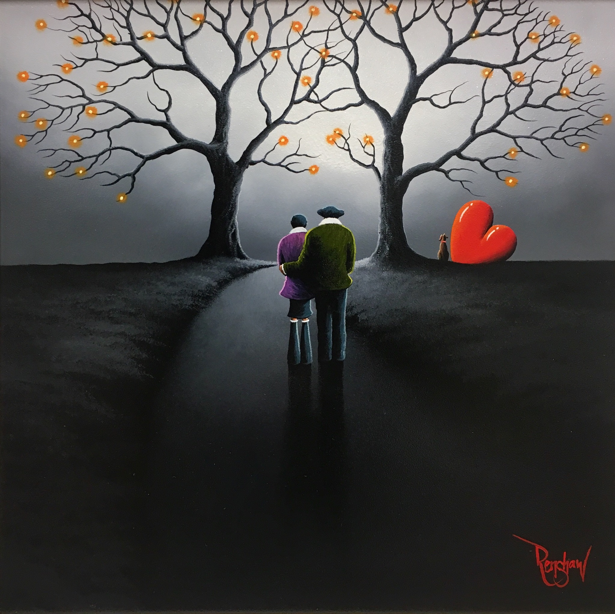 An original oil painting by David Renshaw, a continuation in his Northern Romance series. Standing central in a grey country night scene, Doris and Ted are looking at two trees either side of the path. Both are bare of all their leaves with small orange orbs of lights at the end of most of the branches. In the distance to the right of the trees sits the couple's dog and the symbolic red love heart on its side.