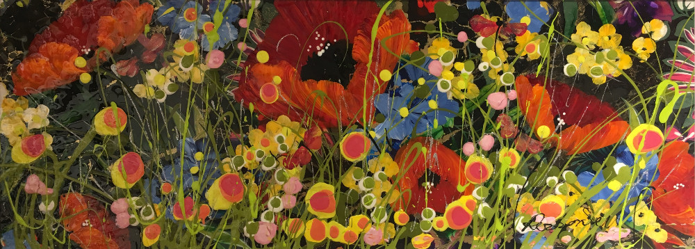 In this painting beautiful red poppies can be seen to be blooming. In front of them other small wildflower type plants of all colours and shapes flourish. An array of greens, pinks, blues, reds, oranges and yellows are used throughout the painting making for a bright and eyecatching image.