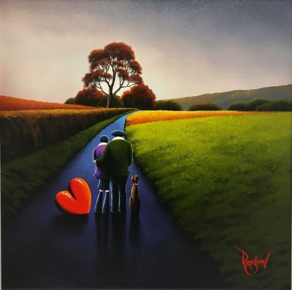 An original oil painting by David Renshaw, a continuation in his Northern Romance series. Doris stands on the blue path alongside Ted with his arm wrapped around her. On the couple's right-hand side sits their dog and to their left is the symbolic love heart leant on its side. They stand amongst an autumn country scene, with fields and crops of various seasonal colours on either side of them and trees descending into the background along with the path.