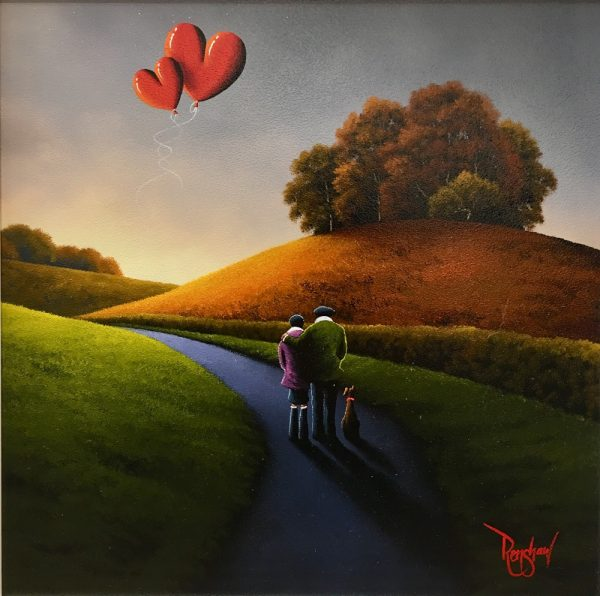 An original oil painting by David Renshaw, a continuation in his Northern Romance series. The couple, 'Ted and Doris' are out for a stroll with their dog on an autumn Sunday. They are stood admiring the sunrise about to emerge from behind the hills, with two love hearts symbolising their love taking the form of balloons floating in the sky.