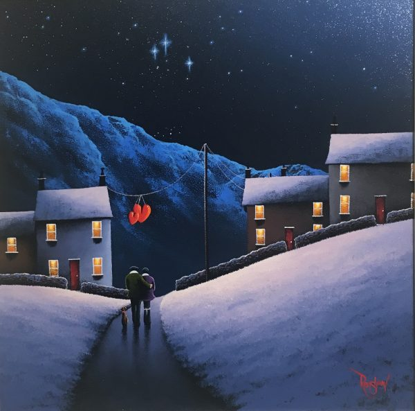 An original oil painting by David Renshaw, a continuation of his Northern Romance series inspired by the Lake District. Ted and Doris stand, with their dog sat beside them, admiring a winter's starry night sky above a snow-covered mountain. Hung on a power cable in line with, but beyond the couple are two red love hearts symbolising the enduring love between the pair. Either side of these are houses featuring red doors, orange/yellow glowing windows, all warm colours to contrast with the blue cool tones of the landscape.