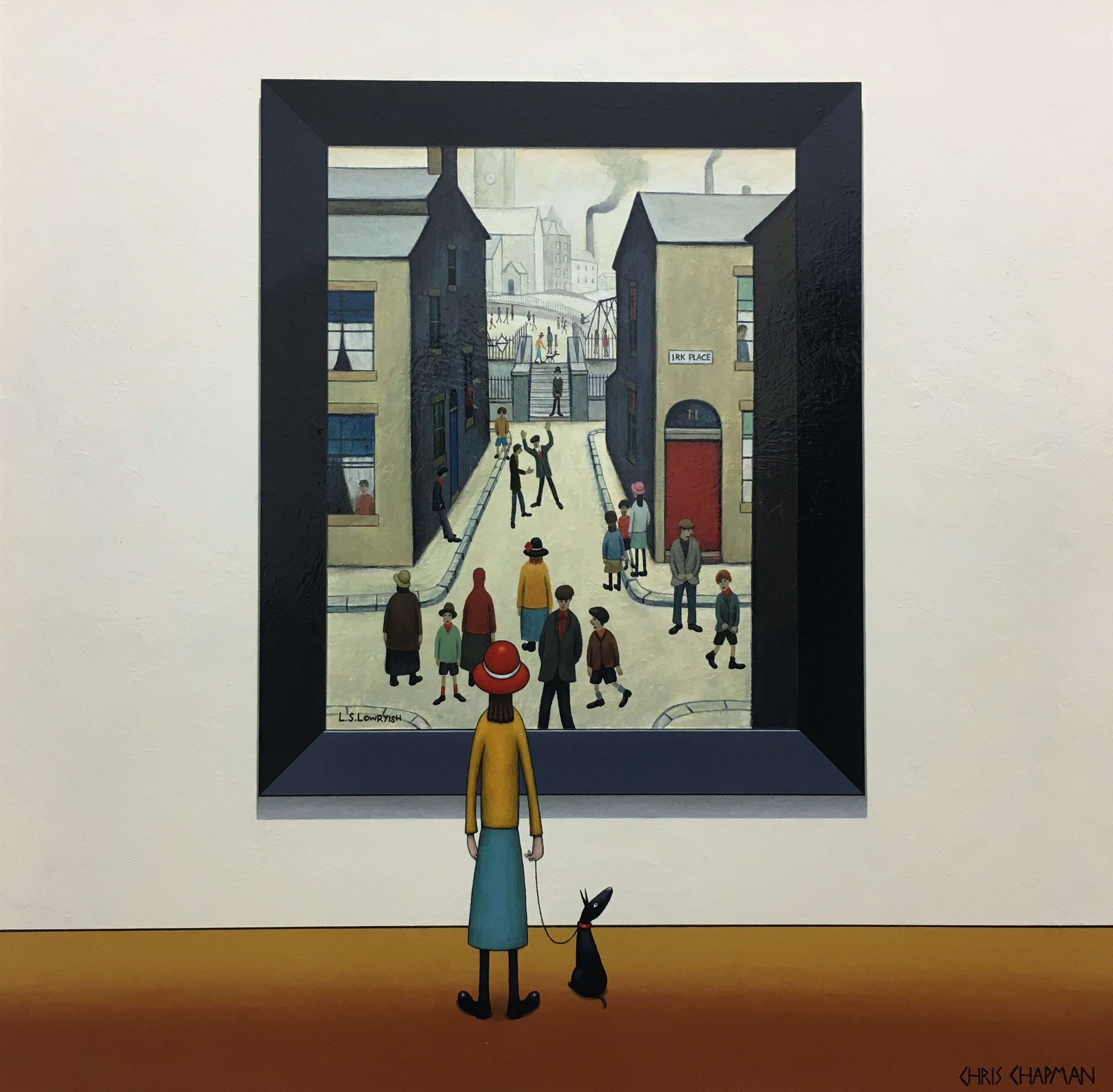 A lady stands in an art gallery admiring a painting depicting a street where children are playing, laughing and having fun. The houses are muted, monotone colours and the colour offered by the clothing of the people in the image including the lady admiring the painting add to the painting. They pop and stand out. She is wearing a red hat, yellow jacket and blue skirt.